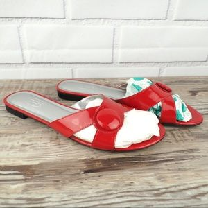 Talbots 10.5 red patent leather button sandals